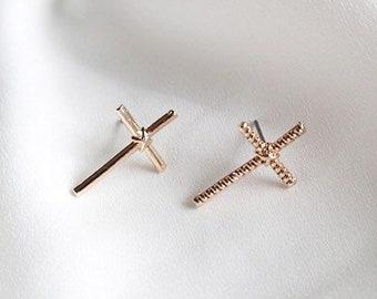 683d44ba2 Cross Stud Earrings - Mismatched Stud Earrings - Cross Earrings Stud -  Christian Earrings - Faith Jewelry