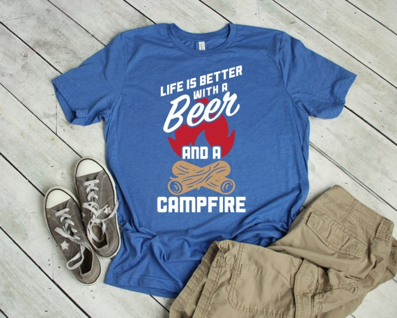 efedf85d Funny Camping and Drinking T-Shirt Better with Beer Campfire | Etsy