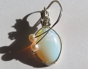 Opalite wrapped in sterling silver accented with fresh water pearls