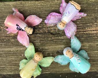 Fairy Peg Dolls, Wooden Fairies, Winged Fairies, Wooden Toys, Wooden Peg People, Fairy Dolls