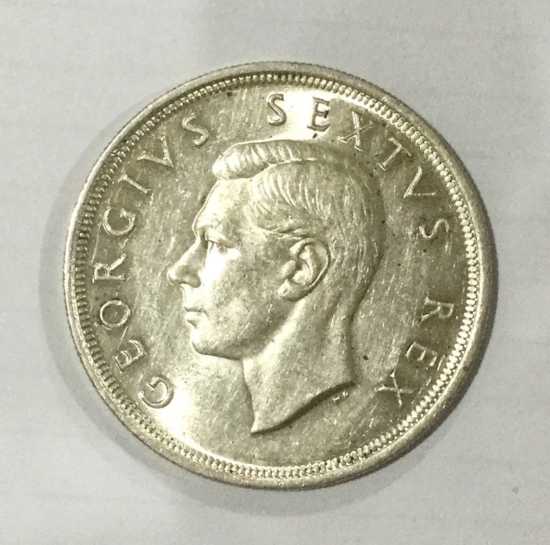 Union of South Africa 1949 King George VI Five Shillings Silver Crown Large  Sized Prancing Springbok Mountains Plants Animal Coin
