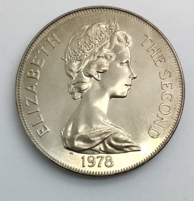 1978 Ascencion Island Large One Crown Coin Copper Nickel Elizabeth II 25th  Anniversary Animal Coin Crowned Lion Sea Turtle Exotic
