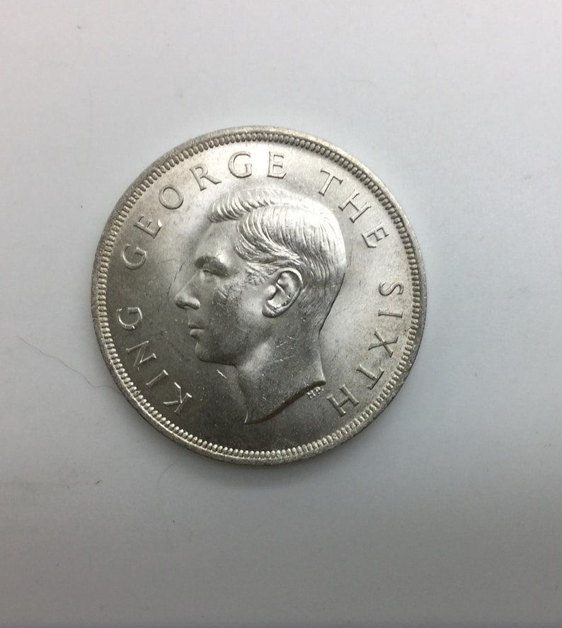 1949 New Zealand George VI Silver Crown Lovely BU Condition Fully lustrous  Portrait Of King George VI Reverse Shows New Zealand Fern