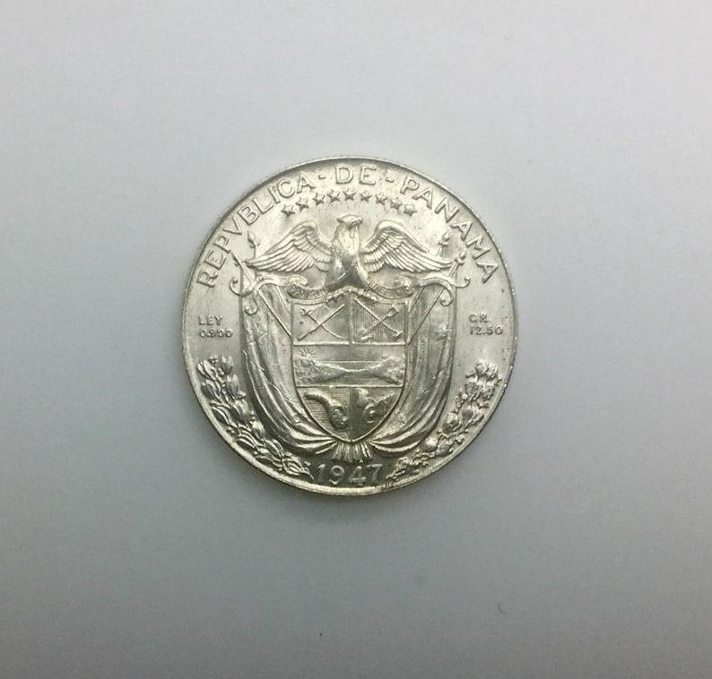 Scarce Date 1947 Panama Half Balboa  Medio Balboa 900 Silver Collector Coin Very Lustrous High Grade Eagle Shield Wreath Conquistador