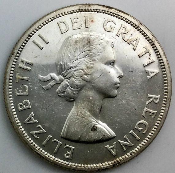 1956 Canada Silver Dollar Coin Queen Elizabeth II Native