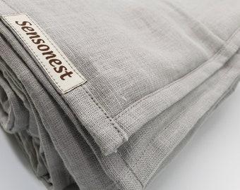 Linen weighted blanket light grey/ Sensory therapy weighted blankets / Personalized gift / Weighted blankets glass fill /Linen: Light grey