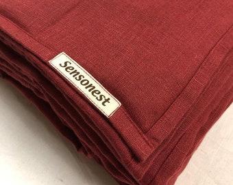 Linen weighted blanket burgundy red/ Sensory weighted blanket linen / Weighted blankets / Birthday / Breathable /Burgundy red color linen