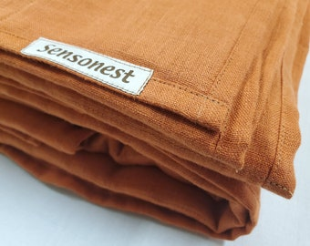 Linen weighted blanket terracotta color / Weighted sensory gift for her / Therapy blanket glass fill/ Natural fabric/Linen: Terracotta color