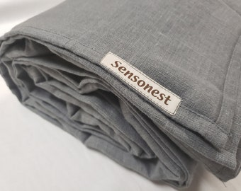 Linen weighted blanket charcoal color / Weighted throw blanket / Heavy blanket / Custom blanket /Special personalized gift / Linen: charcoal