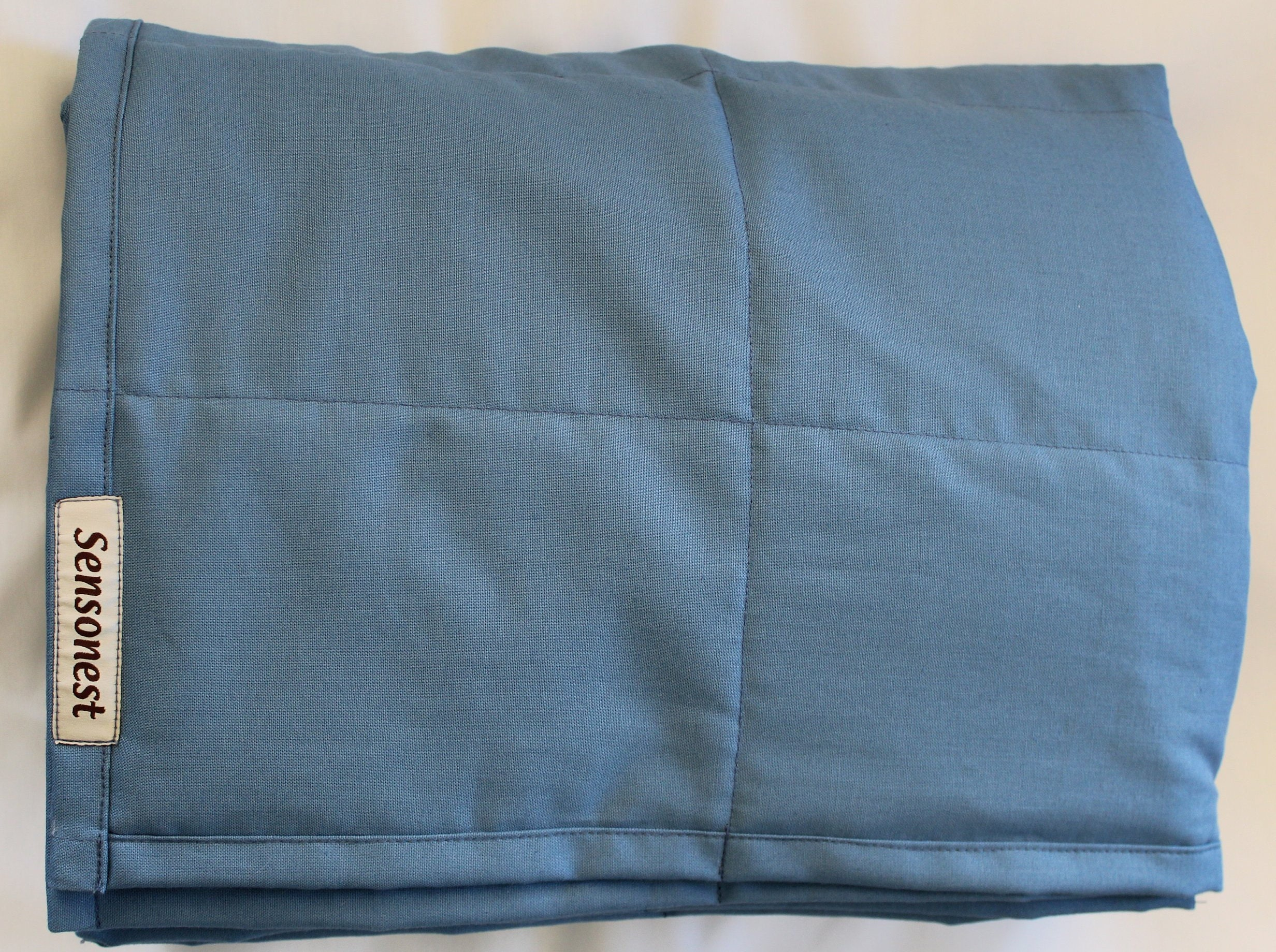 Calming blanket / heavy comforter / adult weighted blanket cotton and glass filling / autism blanket child / twin weighted blanket / blue