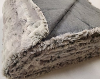 Linen and minky weighted blanket/ Therapy blanket/ Sensory therapy / personalized gift / Natural healing / Dark grey linen and grey minky
