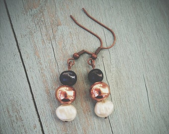 Black and White Freshwater Pearl & Copper Earrings