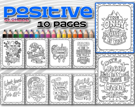Positive Affirmation Coloring Pages Adult Coloring Pages Etsy