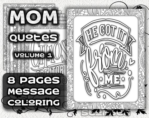 Funny Mom Quotes Adult Coloring Pages Adult Coloring Books Etsy