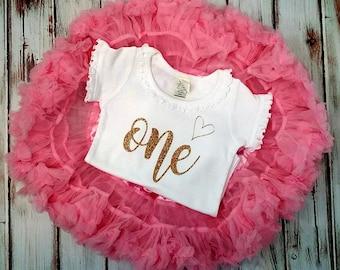 Pink and Gold Glittery Birthday Pettiskirt Onesie and Skirt Set