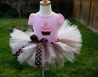 Pink Chocolate Cupcake  Birthday tutu outfit 6m - 4t First Second Third Fourth Birthday