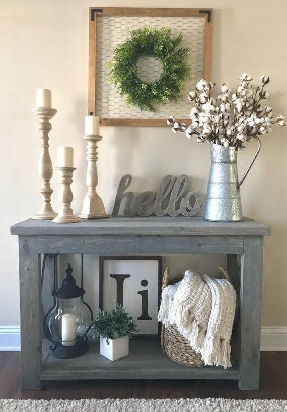 Rustic Gray Entryway Table