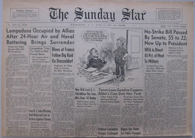 June 13 1943 The Sunday Star Lampedusa Occupied by Allies After 24-Hour Air and Naval Battering Brings Surrender