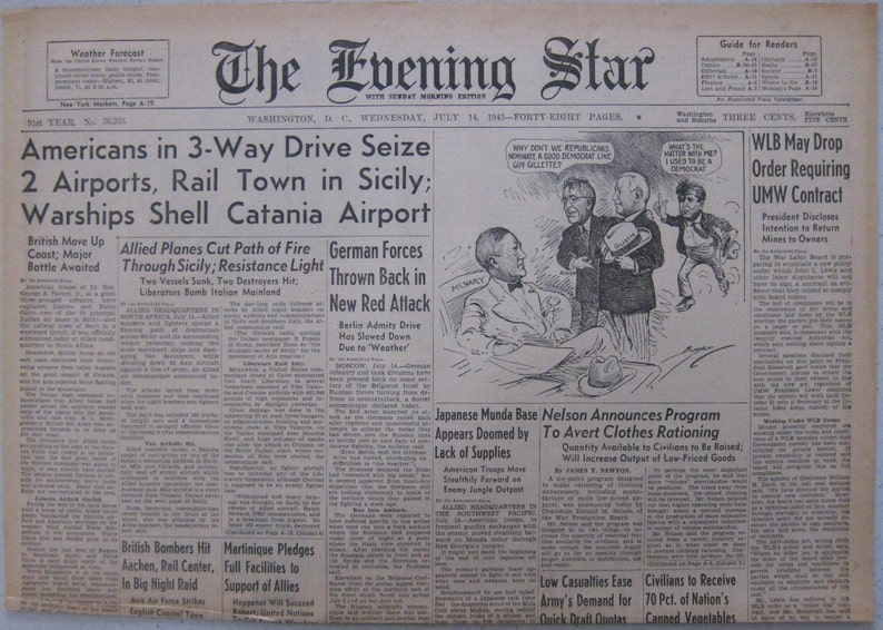 July 14 1943 The Evening Star Americans in 3-Way Drive Seize 2 Airports Rail Town in Sicily; Warships Shell Catania Airport