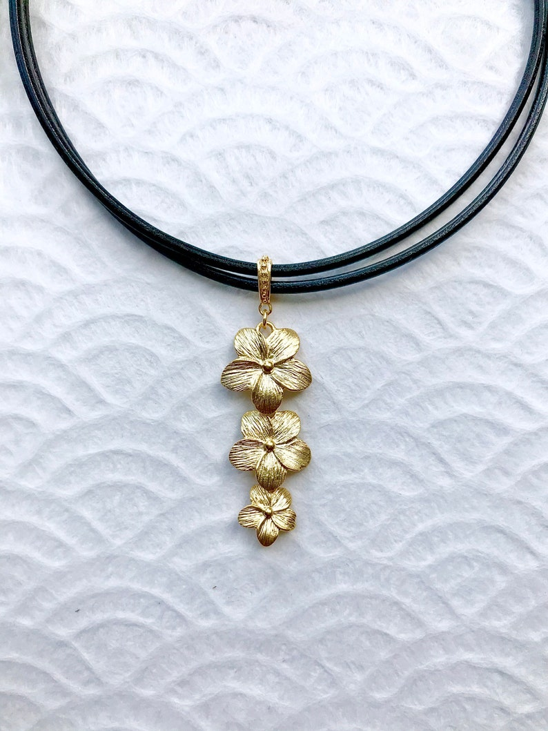 LALAINE Necklace Matte Cascading Flower Pendant on Leather Cord