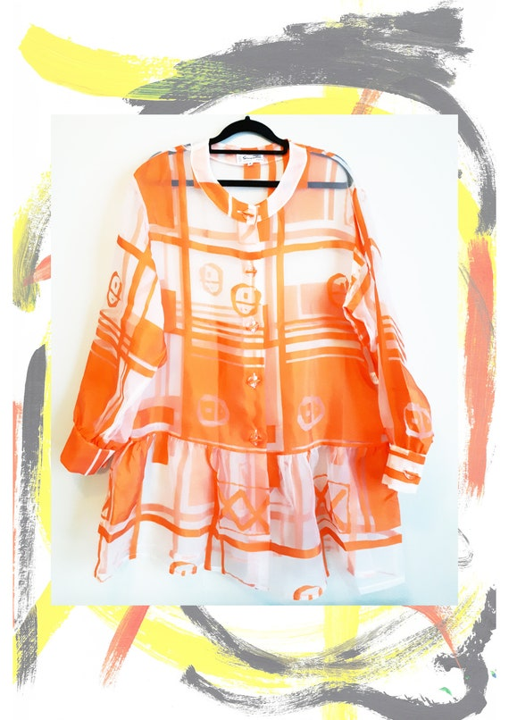 True Vintage 1980's Abstract Orange Matrix Code Sh