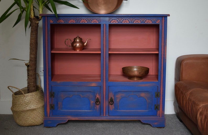 SOLD SOLD SOLD! Indian style, hand painted bright bookshelf / bookcase.  Upcycled, vintage retro display cabinet, carved details. Stunning