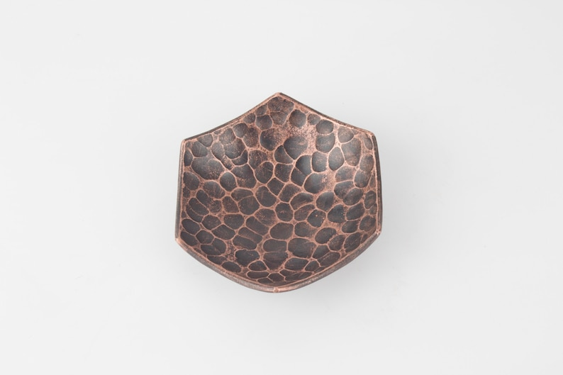 Copper Ring Dish X Small Copper Bowl for 7th Anniversary gift Jewellery Storage Hexagonal hammered texture Copper Bowl Fire Patina