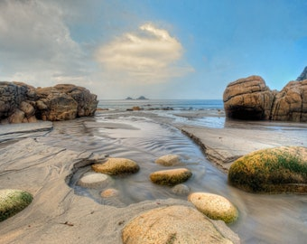 Photographic print of Porth Nanven beach, Cot Valley at low tide looking out to The Brisons, Penwith, Cornwall. Perfect gift.