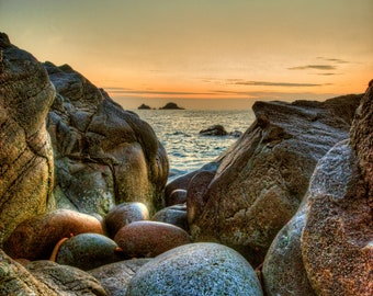 Photographic Print of sunset at Porth Nanven, Cot Valley looking out to The Brisons, Penwith, Cornwall.   Perfect gift.