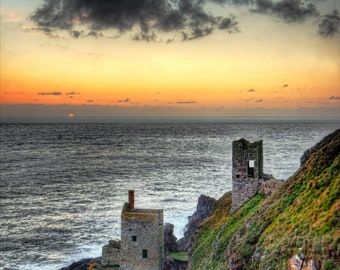 Photographic Print of Botallack Crowns depicting the engine houses. Botallack, Penwith, Cornwall. Perfect Gift.