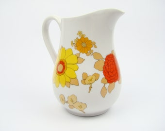 PILLIVUYT France porcelain psychedelic decor pitcher - french porcelain tableware - Flower power Pitcher creamer - Made in France