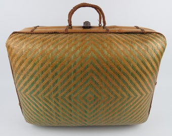 Vintage straw suitcase basket, Woven bicolor suitcase with domed lid, Rectangular wicker suitcase, Handwoven wicker basket with handles