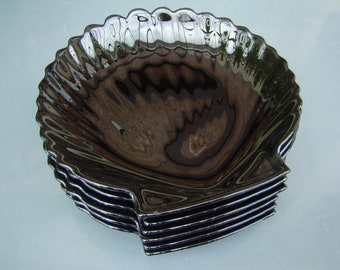 Six flat individual shell SCALLOPS black stained glass - seafood shells - Retro black glass seashells - Made in France
