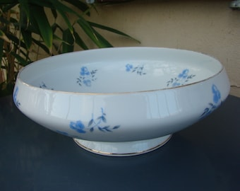 Large LIMOGES porcelain dish vintage 1940 - BALLEROY & co. - stylized blue floral Retro french porcelain - Made in France