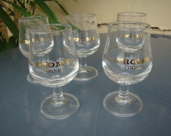 Five small COGNAC Fromy - miniature stemmed glasses - Set glasses aperitif vintage brandy Cognac, Brandy - french barware - Made in France