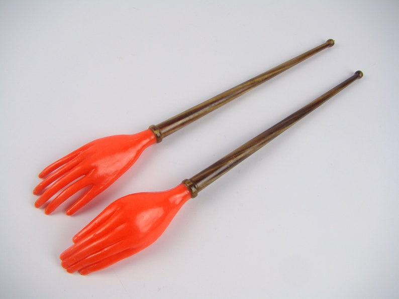 serving cutlery Handmade salad cutlery psychedelic kitsch Orange seventies pop kitchen vintage Orange cutlery 1970