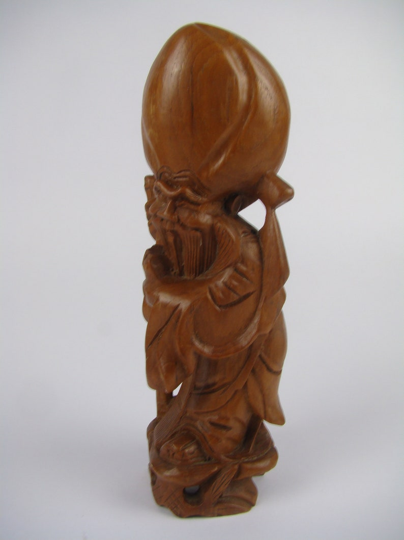 Sculpture Chinese Exotic Wooden Zhoulao Chinese God Chinese Asian Art Ethnic Sculpture Carved Wood Divinity Wood Figurine
