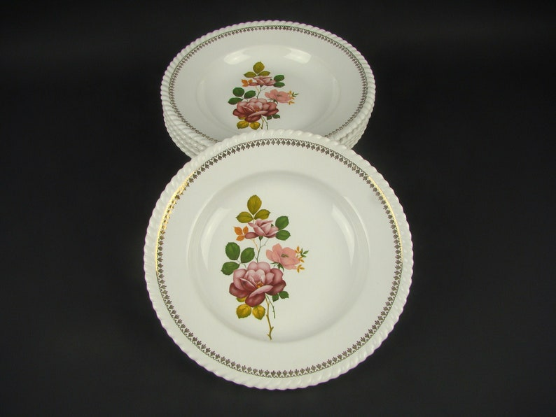 French plates with floral decor French tableware French antique Lun\u00e9ville Badonviller soup plates Shabby kitchen decor Ironstone plates