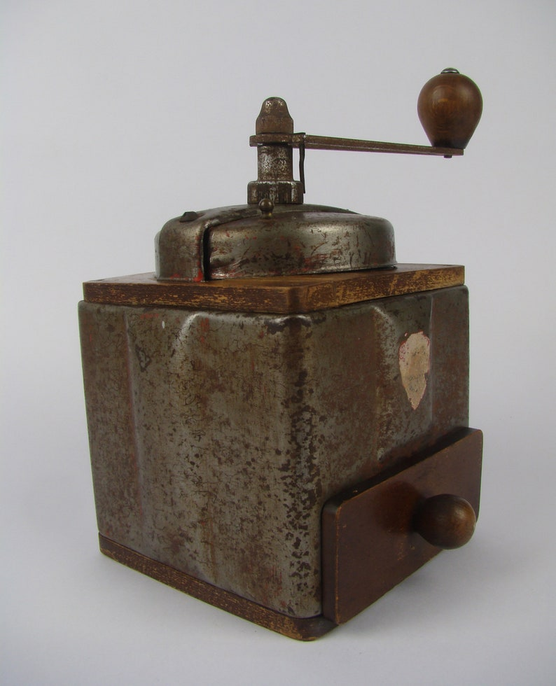 French antique Peugeot coffee grinder French gift French vintage 1950 Rusty decoration French kitchen Peugeot Fr\u00e8res metal coffee mill