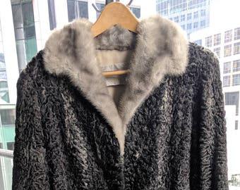 Vintage Persian Lamb & Mink Fur Coat