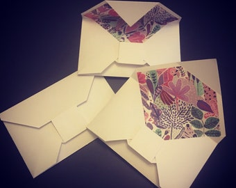 Origami envelopes lots of 5 - using 80lb white paper and 25lb wrapping paper