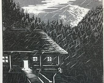 Rainy Cabin Woodblock Print (LIMITED EDITION)