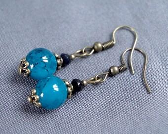 Vintage blue glass earrings