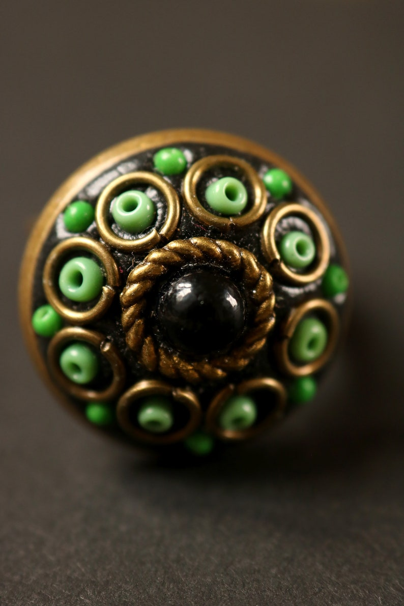 round, adjustable, magical, orient inspiration, circle, glass beads, rockery beads Mystical green and black ring gift idea.