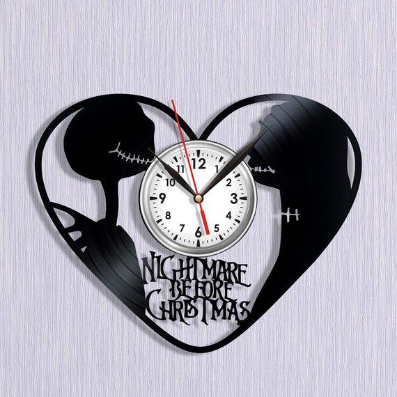Vinyl Clock Nightmare Before Christmas Vinyl Wall Clock Jack Etsy