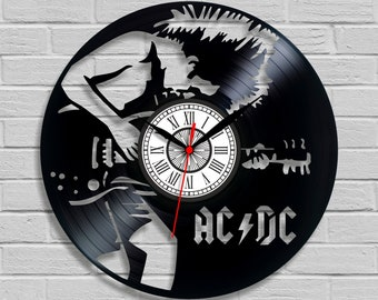 AC DC clock Vinyl clocks Clock presents Record album Laser cut clock Vinyl clock art Old records Buy vinyl Music actor Music sing Decoration