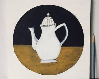 Naive painting figurative - very decorative white teapot