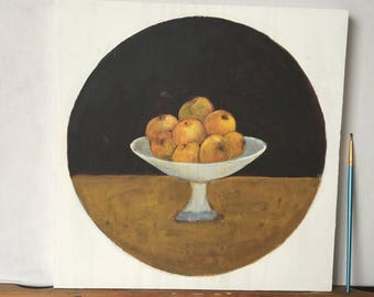 Naive painting figurative - apples