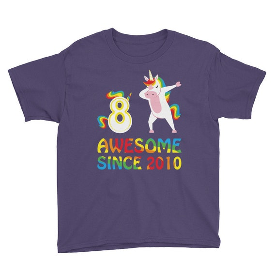 30687225 Dabbing Unicorn 8 Years Old Kid Birthday TShirt Awesome Since | Etsy