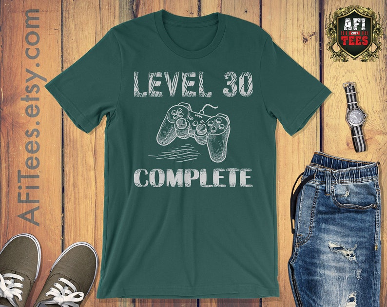 Level 30 Complete Shirt 30th Birthday Gifts Idea Video Game